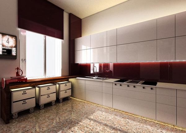 Cucina con piano in Corian e ante laccate